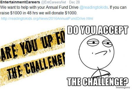 EntertainmentCareers.net $1,000 Twitter Challenge