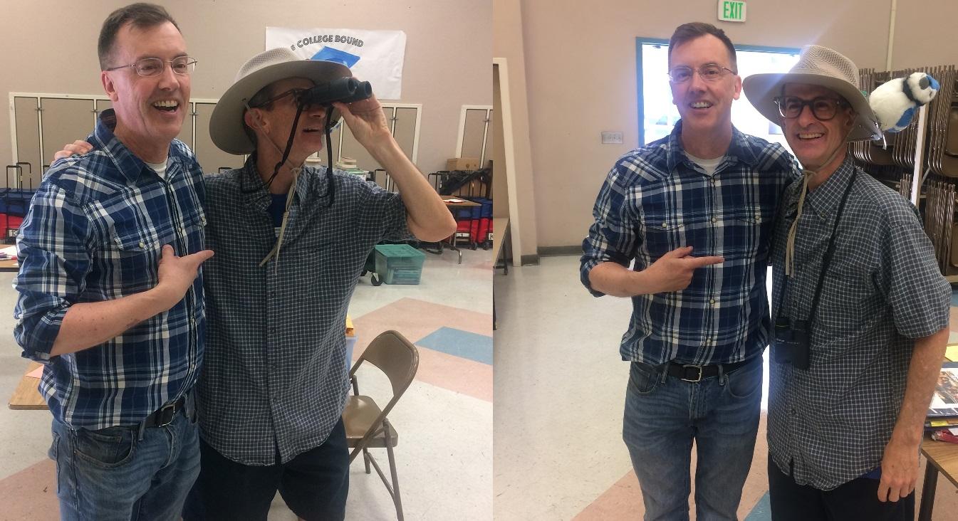 Mark May dressed as Esperanza principal and avid bird watcher Brad Rumble