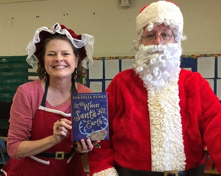 Santa and Mrs. Claus at Reading to Kids