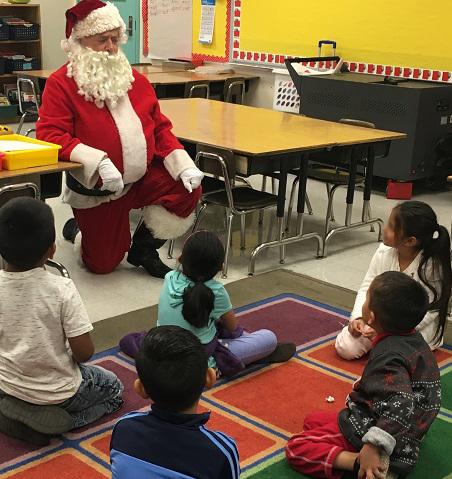 Santa at Los Angeles Elem. reading clubs