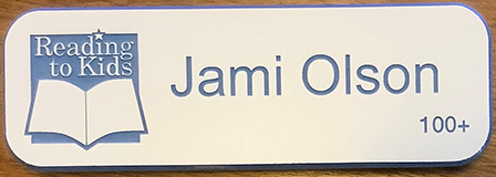 Jami Olson 100th Name Badge