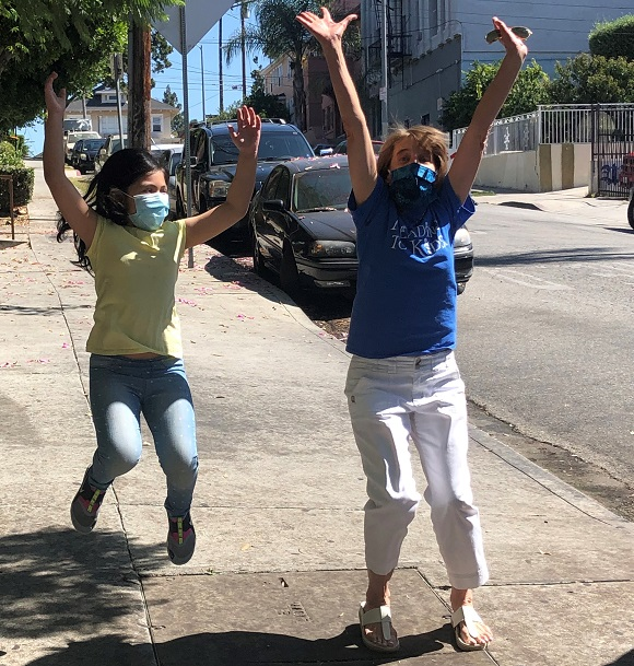 Naomi and Linda jumping in excitement