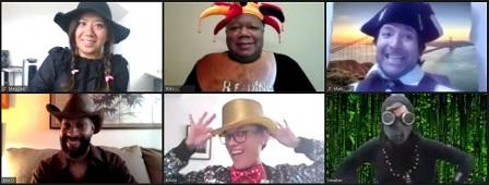 Volunteers in costumes on Zoom