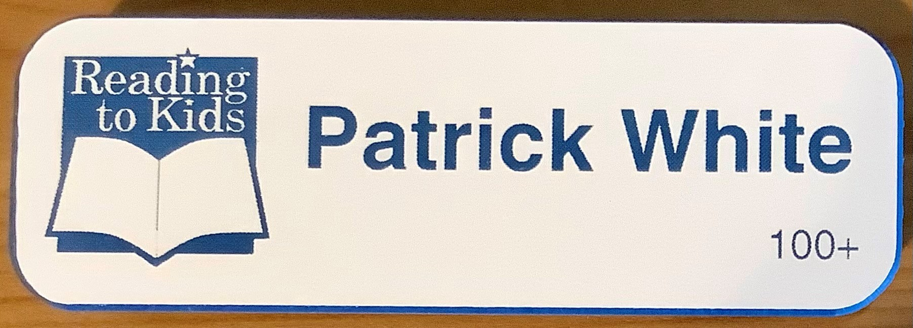 Patrick White 100th Name Badge