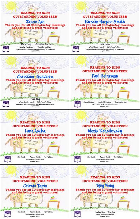 August 2021 Milestone Certificates