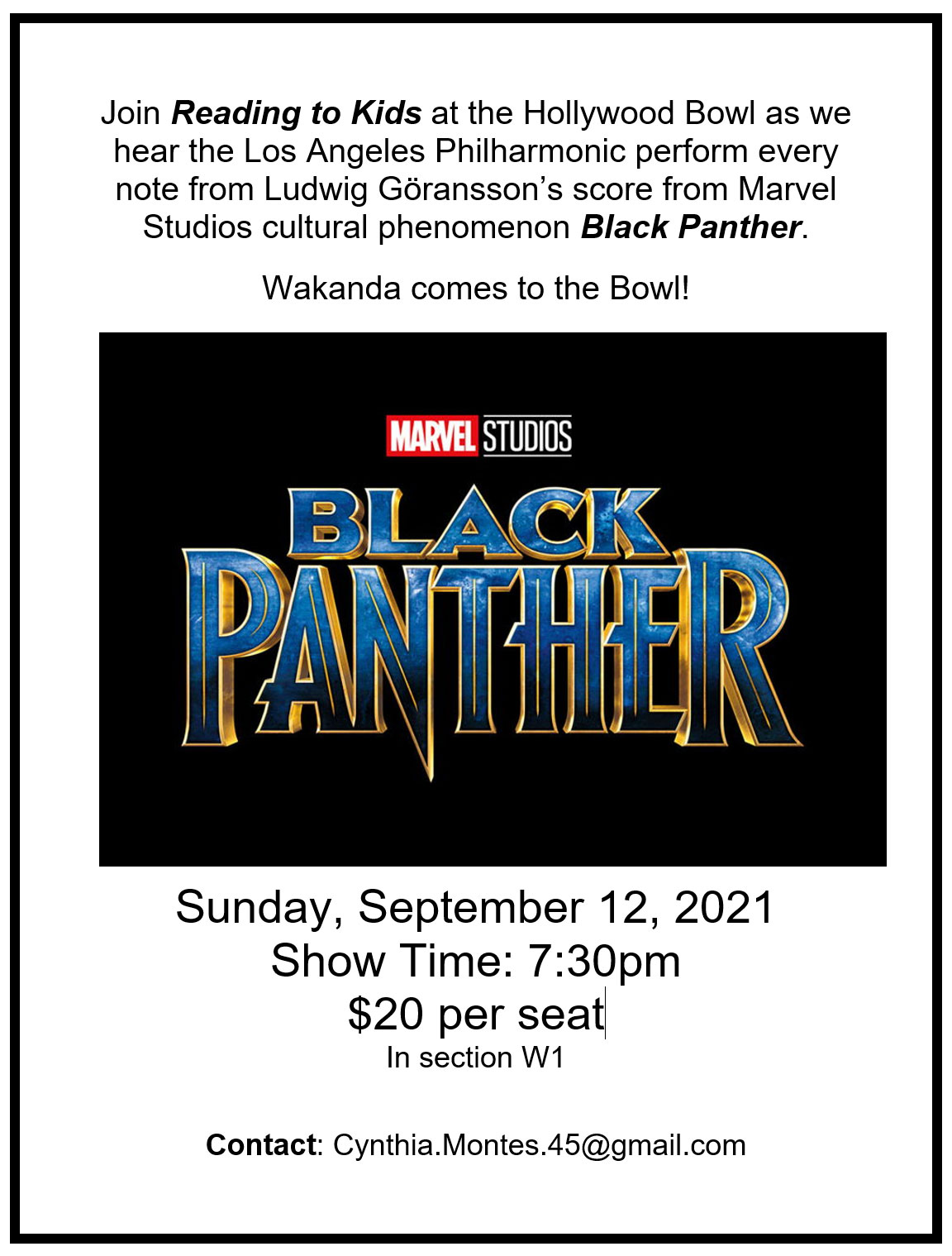 Black Panther at the Hollywood Bowl flyer