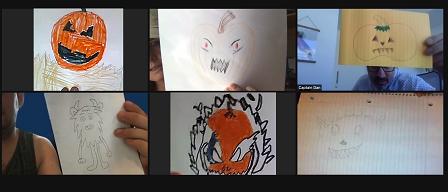 Collage of Kindergarten through 5th grade Halloween crafts on Zoom