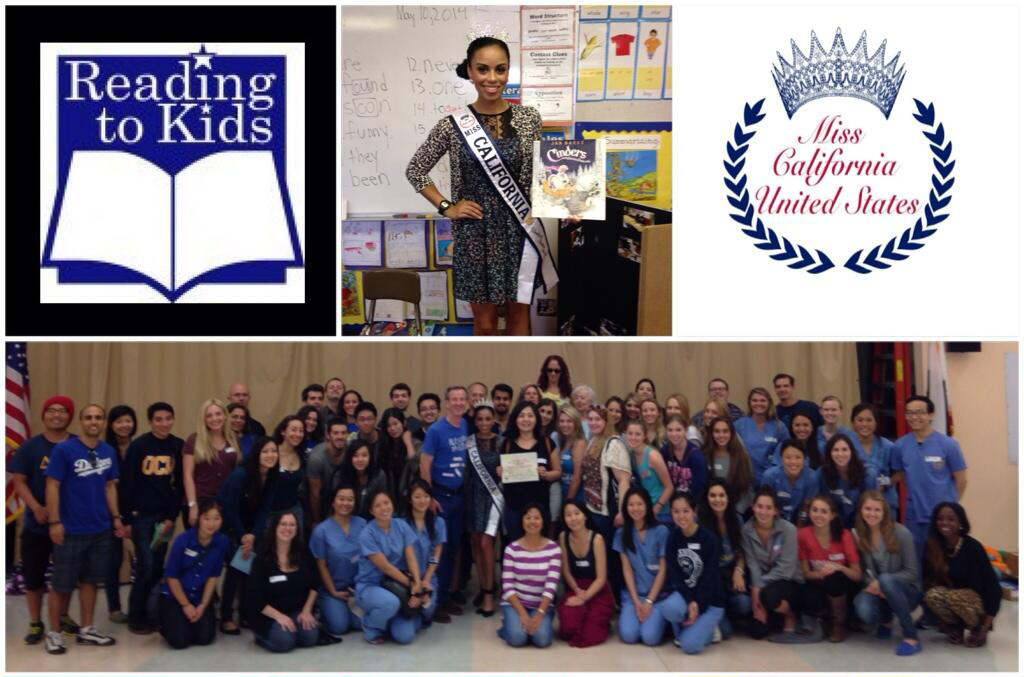 Miss California Brandy Fisher at Los Angeles Elem. with Reading to Kids