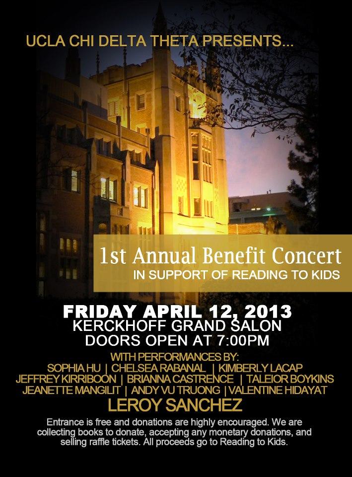 UCLA Chi Delta Theta Benefit Concert flyer